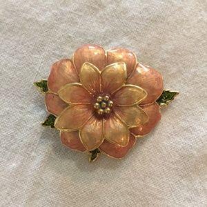 Vintage Danecraft peach flower pin